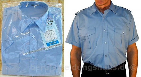 Feuerwehrhemd Diensthemd Hemd hellblau Halbarm mit Tunnel und Adapter